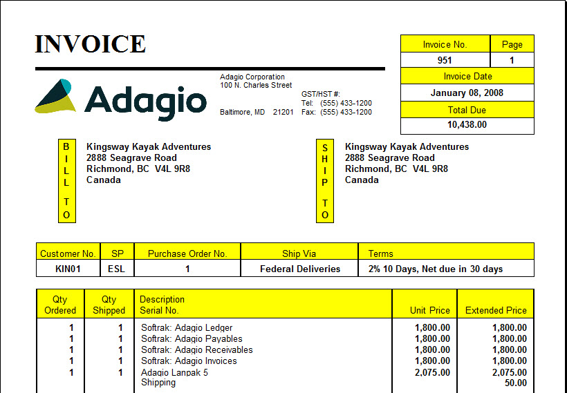 Invoicing Software Billing Software Adagio - Invoice jpg